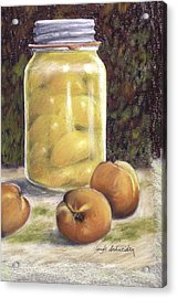 Acrylic Print featuring the painting Canned Peaches by Claude Schneider