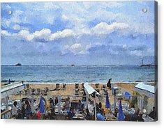 Cannes Beach At Breakfast Acrylic Print