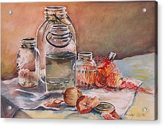Acrylic Print featuring the painting Canning Jars And Onions by Joy Nichols