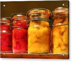 Canning Jars Of Tomatoes And Peaches Acrylic Print by Susan Savad