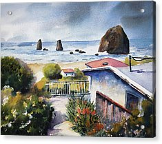 Acrylic Print featuring the painting Cannon Beach Cottage by Marti Green