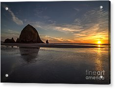 Cannon Beach Dusk Conclusion Acrylic Print by Mike Reid