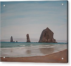 Acrylic Print featuring the painting Cannon Beach Haystack Rock by Ian Donley