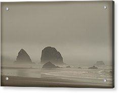 Acrylic Print featuring the photograph Cannon Beach In A Fog Oregon by Yulia Kazansky