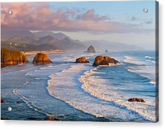Cannon Beach Sunset Acrylic Print by Darren  White