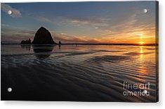 Cannon Beach Sunset Sand Waves Acrylic Print