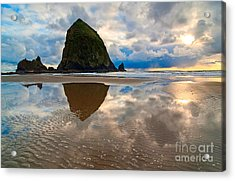 Cannon Beach With Storm Clouds In Oregon Coast Acrylic Print by Jamie Pham