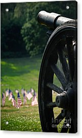 Cannon Memorial With American Flags Acrylic Print by Amy Cicconi
