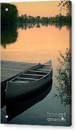 Canoe At A Dock At Sunset Acrylic Print by Jill Battaglia