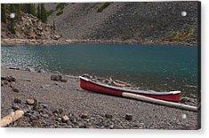 Canoe At Moraine Lake Acrylic Print by Cheryl Miller