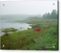 Canoe At Point Of Maine Acrylic Print by Christopher Mace