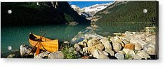 Canoe At The Lakeside, Lake Louise Acrylic Print