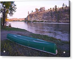 Canoe By River Acrylic Print by Susan Crossman Buscho