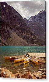 Canoe For Rent In Banff's Moraine Lake Acrylic Print