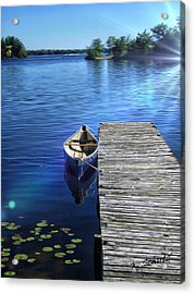 Canoe In Calm Waters Acrylic Print by Kelly Schutz