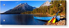 Canoe In Lake In Front Of Mountains Acrylic Print