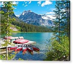 Canoe Livery On Emerald Lake In Yoho Np-bc Acrylic Print