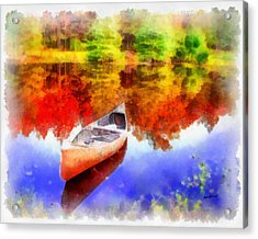 Canoe On Autumn Pond Acrylic Print by Anthony Caruso