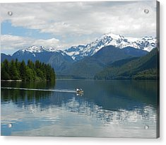 Canoe On Baker Lake Acrylic Print by Karen Molenaar Terrell
