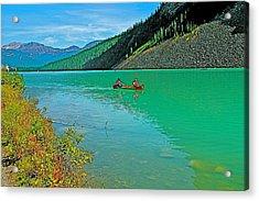 Canoe On Lake Louise In Banff Np-alberta Acrylic Print