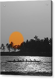 Canoe Ride In The Sunset Acrylic Print by Athala Carole Bruckner