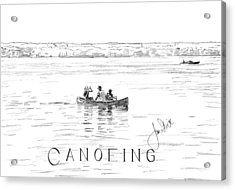 Canoeing On The Lake Acrylic Print by Jan Stride
