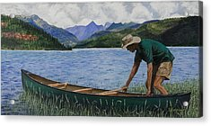 Canoeing Vallecito Acrylic Print by Timithy L Gordon