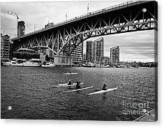 canoeists canoeing along false creek underneath the granville bridge Vancouver BC Canada Acrylic Print by Joe Fox