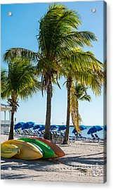 Canoes And Palms - Higgs Beach Key West  Acrylic Print