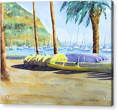 Canoes And Surfboards In The Morning Light - Catalina Acrylic Print