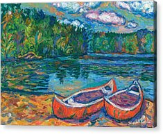 Canoes At Mountain Lake Sketch Acrylic Print by Kendall Kessler