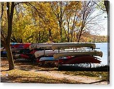 Canoes In Autumn Acrylic Print