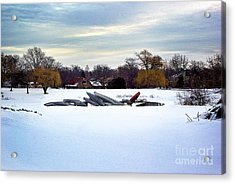 Canoes In The Snow Acrylic Print