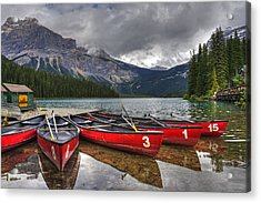 Canoes On Emerald Lake Acrylic Print by Darlene Bushue
