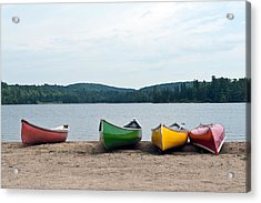 Acrylic Print featuring the photograph Canoes On The Lake by Marek Poplawski