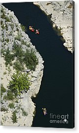 Canoes On The River Ardeche In Southern France Acrylic Print