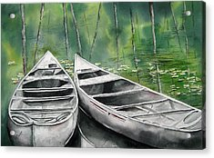 Canoes To Go Acrylic Print by Mary McCullah