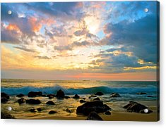 Canoes Under The Setting Sun Acrylic Print by Joshua Marumoto