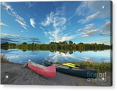 Canoes With Clouds Reflecting  Acrylic Print