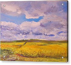 Canola And Clouds Acrylic Print