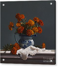 Canton Pitcher With Marigolds Acrylic Print by Larry Preston