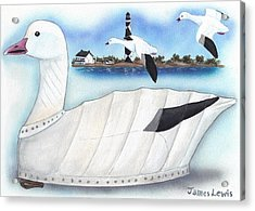 Canvas Snow Goose Decoy Acrylic Print by James Lewis