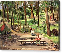 Canyon Campground - Yellowstone  1950's Acrylic Print