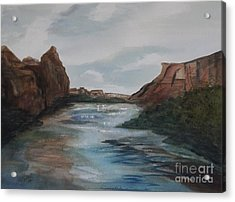 Acrylic Print featuring the painting Canyon De Chelly by Ellen Levinson