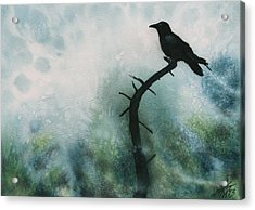 Canyon Denizen Or Torrey Pine Remains With Raven Acrylic Print