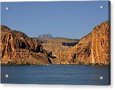 Canyon Lake Of Arizona - Land Big Fish Acrylic Print by Christine Till