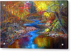 Acrylic Print featuring the painting Canyon River by LaVonne Hand