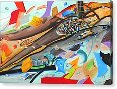 Caos Acrylic Print by Angel Ortiz