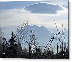 Cap Over Mt. Rainier Acrylic Print