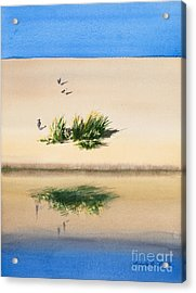 Cape Dune Watercolor Acrylic Print by Michelle Wiarda